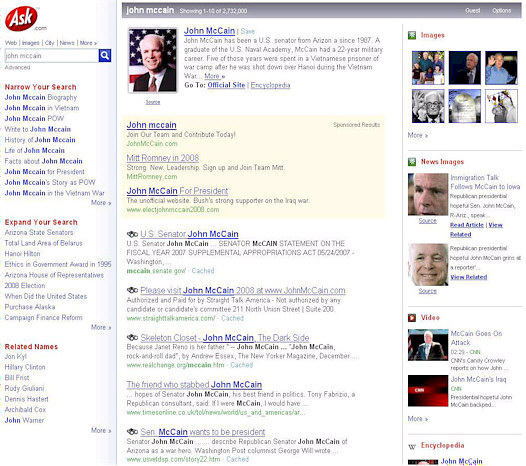 John McCain search results at Ask