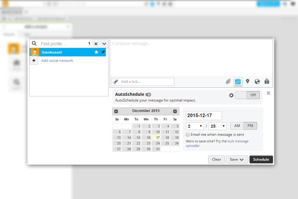 Hootsuite Scheduling Screen