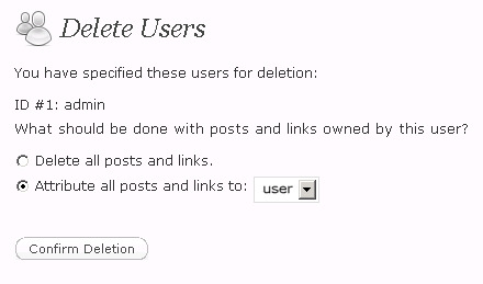 Deleting User in WordPress
